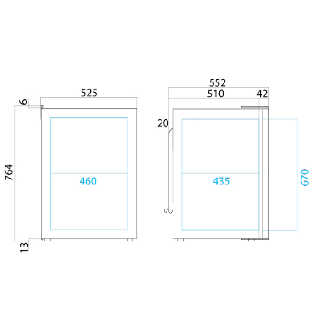 Vitrifrigo C130l fridge dimensions