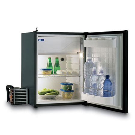 Vitrifrigo C75l mid sized compressor fridge with door open. For use in caravan, motorhomes and boats
